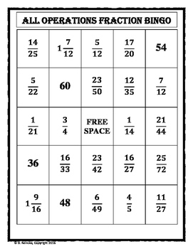 All Operations with Fractions Bingo (30 pre-made cards!)
