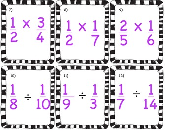All Operations with Fractions Task Cards with Word Problems