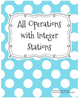All Operations with Integer Word Problem Stations