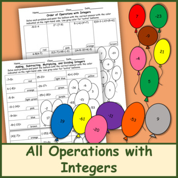 All Operations with Integers Color by Number