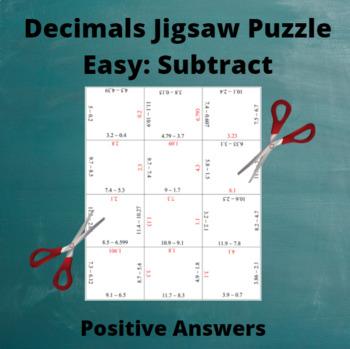 All Positive Decimals: Subtraction Puzzle Easy