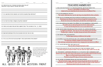 All Quiet On The Western Front Worksheet: all quiet on the western front 1979 movie guided questions by drew ,