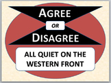 ALL QUIET ON THE WESTERN FRONT - Agree or Disagree pre-reading activity