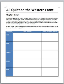 All Quiet on the Western Front - Chapters review activity