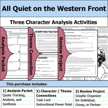 All Quiet on the Western Front - Character Analysis Packet, Theme, & Project