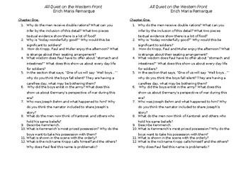 All Quiet On The Western Front Worksheet: all quiet on the western front discussion questions by alyssa martinez,