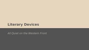 All Quiet on the Western Front Literary Devices Power Point (PPT)