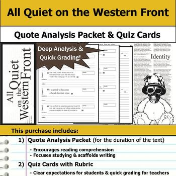 All Quiet on the Western Front - Quote Analysis & Reading Quizzes