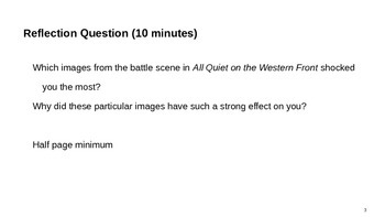 All Quiet on the Western Front Reflection, Journal, Written Response Questions