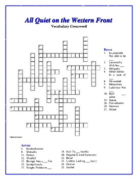 All Quiet on the Western Front: Synonym/Antonym Vocab. Crossword