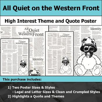 All Quiet on the Western Front - Visual Theme & Quote Poster for Bulletin Boards