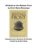 All Quiet on the Western Front Comprehension Questions & Activities