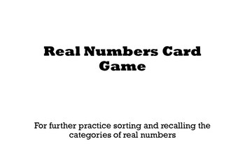All Real Numbers Card Game Sorting