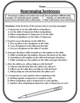All Rearranging Sentences Worksheet Rearranging Sentences Practice Language  Arts