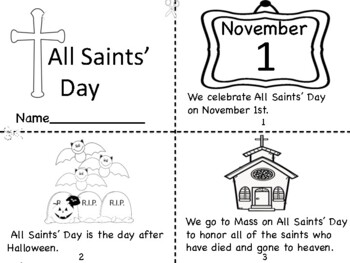 All Saints Day Mini Book Coloring Page Prayer Pages By Miss P S