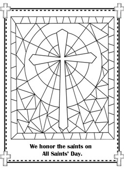 All Saints\' Day Stained Glass Cross Coloring Pages!