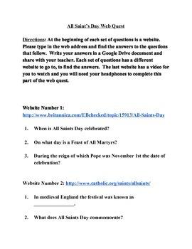 All Saints Day Webquest