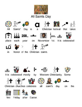 All Saints Day - picture supported text review lesson questions visuals