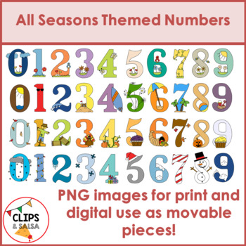 All Seasons Themed Number Clip Art Bundle for Digital & Paper Resources
