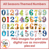 All Seasons Themed Number Clip Art Bundle for Digital & Pa