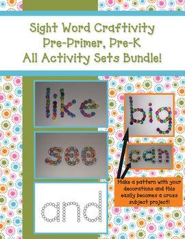 All Sight Word Craftivities Bundle - Pre-Primer, Pre-K Words
