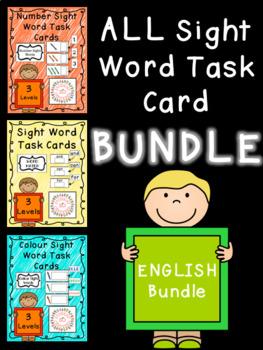 All Sight Word Task Boxes BUNDLE - ENGLISH