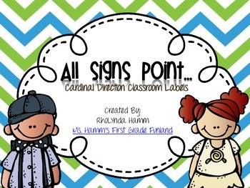 All Signs Point To- Cardinal Direction Classroom Labels Aqua & Lime Chevron