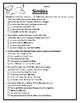 All Similes Worksheets Similes Practice Language Arts Similes Activities