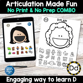 All Smiles Activity for Articulation of the D Sound Combo