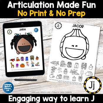 No Print Articulation of J in Words & Sentences Speech Therapy Intervention