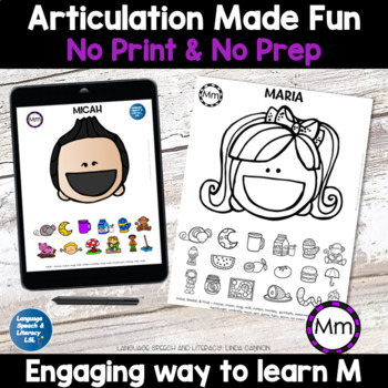 No Print Articulation of M in Words & Sentences Speech Therapy Intervention