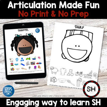 All Smiles Activity for Articulation of the SH Sound - Combo