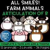 All Smiles Farm Animals Activity for Articulation of the B Sound, No Prep