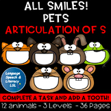 All Smiles Pets Activity for Articulation of the S Sound, No Prep, Teletherapy