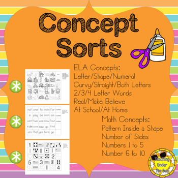 All Sorts of Sorts; Concept Sorts, Words, Numbers, Shapes, Letters