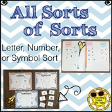 Sorts: Letter, Number, or Symbol- Alphabet, Numerals, or O