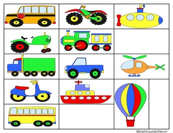 Transportation Sorts Land, Sea, Air, Concept Sort, Vehicles, Vocabulary