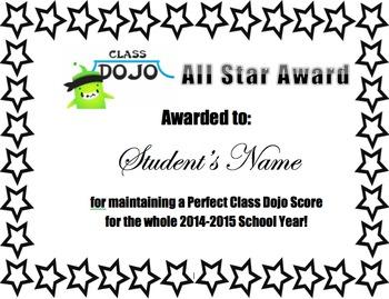 All Star Class Dojo Award
