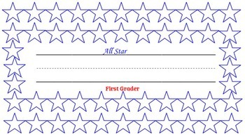 """""""All Star First Grader"""" desk name tag and log"""