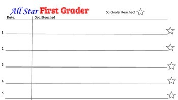 """All Star First Grader"" desk name tag and log"