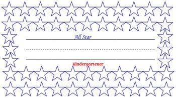 """All Star Kindergartener"" desk name tag with log sheet"