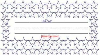 """""""All Star Kindergartener"""" desk name tag with log sheet"""
