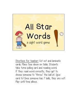 All Star Sight Words