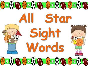All Star Sight Words- Kindergarten- Dolch Pre-Primer March Madness