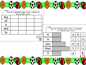 All Star Sight Words- Kindergarten or First Grade- First 25 Fry Words