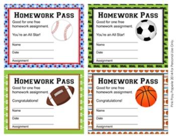 All Star Sports Homework Passes