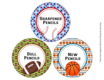 All Star Sports Pencil Caddy Labels