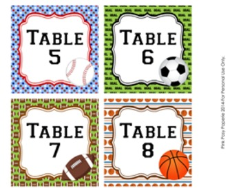 All Star Sports Table Numbers