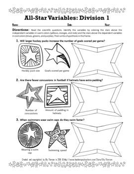 All-Star Sports Variables Coloring Worksheet Set: Scientific Method Practice