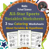 All-Star Sports Variables Coloring Worksheet Set: Scientific Method Practice